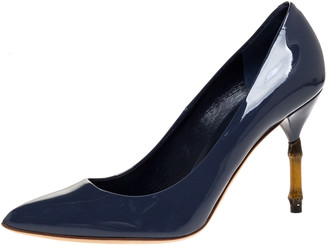 Gucci Blue Patent Leather Kristen Bamboo Heel Pointed Toe Pumps Size 38.5