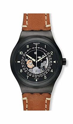 Swatch Men's Stainless Steel Automatic Watch with Leather Strap