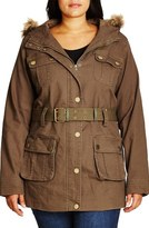City Chic Faux Fur Trim Hooded Belted Utility Jacket (Plus Size)
