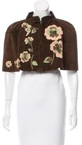 Marni Floral-Accented Suede Cape