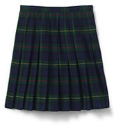 Lands' End Little Girls Plaid Pleated Skirt Below the Knee-Classic Navy Large Plaid