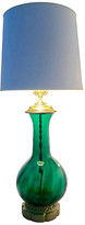 One Kings Lane Vintage Blenko Blown Glass & Brass Lamp - Jacki Mallick Designs - green/gold