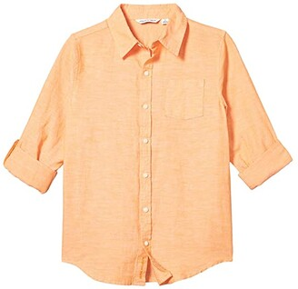 Janie and Jack Linen Rollup Button-Up Shirt (Toddler/Little Kids/Big Kids) (Orange) Boy's Clothing