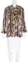 Just Cavalli Leopard Print Silk Top