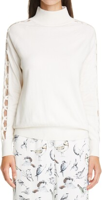Lela Rose Braided Sleeve Wool & Silk Turtleneck Sweater