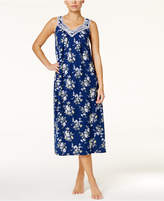Charter Club Lace-Trimmed Printed Long Nightgown, Created for Macy's
