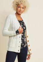 ModCloth Fireside Cable Knit Cardigan in Eggshell in 4X
