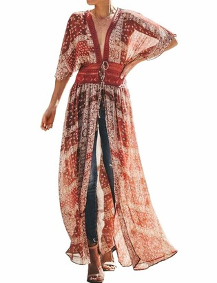 FANCYINN Women Lace Beach Kimonos Cardigan Open Front Swimsuit Crochet Beach Bikini Cover up Dress Black