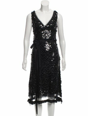 Prada Sequin Silk Dress Black