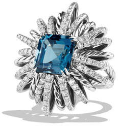 David Yurman 30mm Diamond & Blue Topaz Starburst Ring
