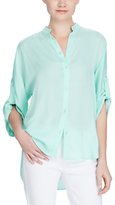 Lauren Ralph Lauren Rolled Cuff Button-Down Shirt, Light Aqua