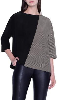 Akris Stripe & Solid Silk Top