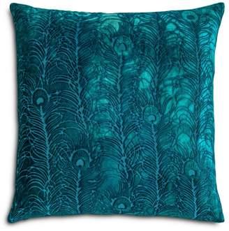 """Studio Peacock Feather Velvet Decorative Pillow, 22"""" x 22"""""""