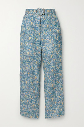 Zimmermann Carnaby Belted Cropped Floral-print Linen Flared Pants - Light blue