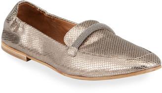 Brunello Cucinelli Metallic Textured Loafers w/ Monili Bit