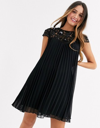 Lipsy lace top mini smock dress in black