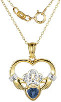 Fine Jewelry Heart-Shaped Genuine Blue Sapphire and Diamond-Accent Claddagh Pendant Necklace