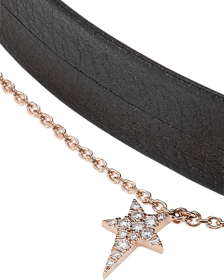 Diane Kordas Leather Choker with 18kt Rose Gold and White Diamonds