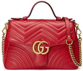 a72b12a367f9b3 Gucci GG Marmont Small Chevron Quilted Top-Handle Bag with Chain Strap