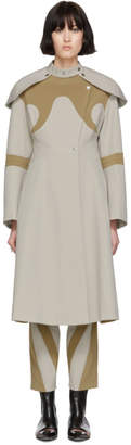 BEIGE Kiko Kostadinov and Tan Shoulder Guard Coat