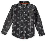 Rockin' Baby Iceland Wolf Print Chambray Shirt in Dark Blue