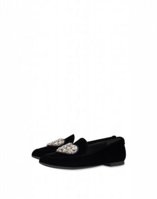 Love Moschino Velvet Loafers Jeweled Heart