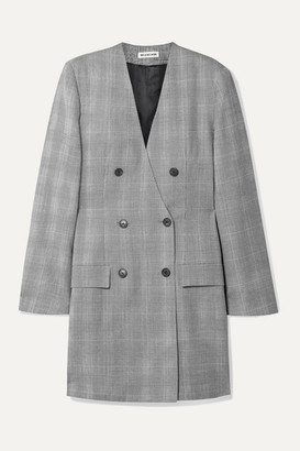 Balenciaga Double-breasted Prince Of Wales Checked Wool Dress - Black