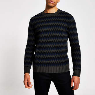 River Island Selected Homme black printed knitted jumper