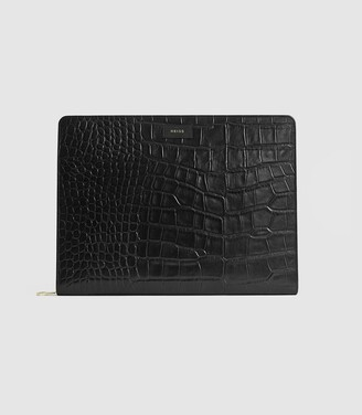 Reiss Archie - Leather Embossed Croc Document Sleeve in Black