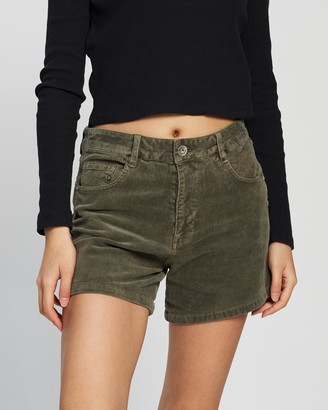 Silent Theory Women's Green High-Waisted - Malibu Corded Shorts - Size One Size, 6 at The Iconic
