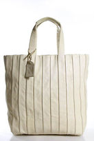 Reed Krakoff White Leather Open Top 3 Pocket Double Strap Tote Handbag