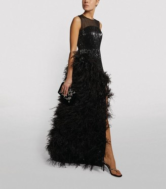 Huishan Zhang Feather-Embellished Grace Gown