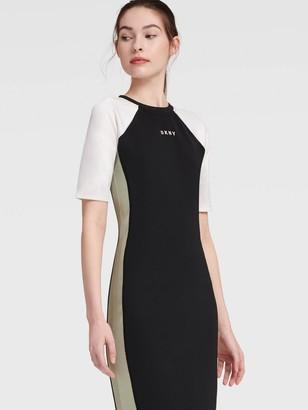 DKNY Women's Body-con Colorblock Dress - Vermillion - Size M