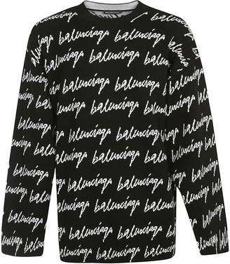 Balenciaga All-over Signature Logo Sweater