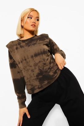 boohoo Petite Tie Dye Shoulder Pad Sweatshirt