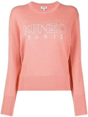 Kenzo Beaded-Logo Textured Sweater
