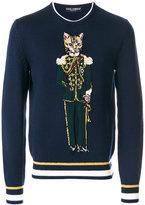 Dolce & Gabbana cat solider embroidered sweatshirt