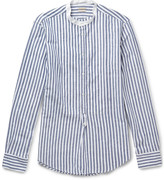 Massimo Alba - Kos Grandad-collar Striped Linen And Cotton-blend Shirt