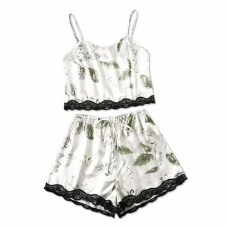 Jiegorge Intimates for Women Women Plus Size Print Camisole Shorts Set Pajamas Bow Lace Lingerie Sleepwear
