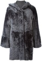 Drome hooded fur coat