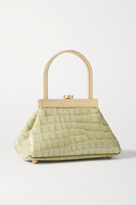 Cult Gaia Estelle Mini Croc-effect Leather Tote - Green