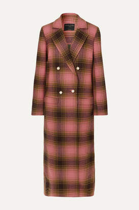 Mother of Pearl Mable Embellished Double-breasted Checked Wool Coat - Pink