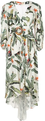 PatBO Balloon-Sleeved Tropical-Print Midi Dress