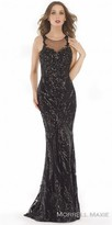 Morrell Maxie Illusion Sequin Encrusted Damask Evening Dress
