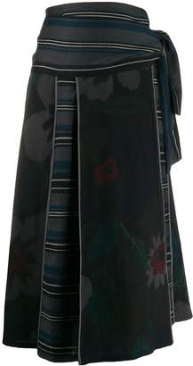 Kenzo Pre-Owned 1990s floral stripe skirt