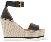 See by Chloe Leather Espadrille Wedge Sandals - Black