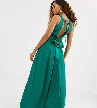 TFNC Petite Petite Bridesmaid maxi dress with satin bow back in emerald green