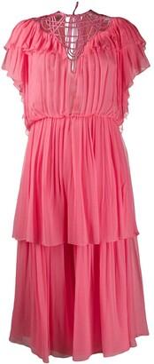Alberta Ferretti tiered ruffle dress
