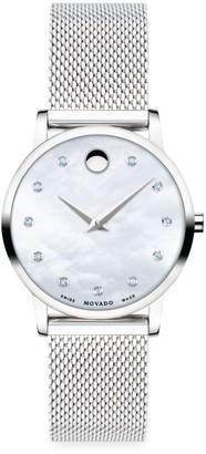 Movado Museum Classic Stainless Steel & Diamond Mesh Bracelet Watch
