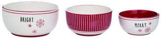 Trans Pac Dolomite Red Christmas Snow Stripes Serving Bowls - Set of 3